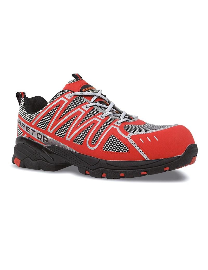 PERLIO, zapato S1P rojo de microfibra metal free 36-47